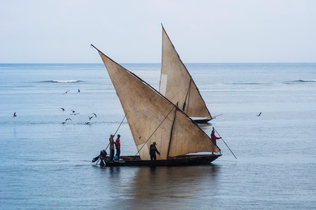 Two fishermen sailboats returning to Watamu beach