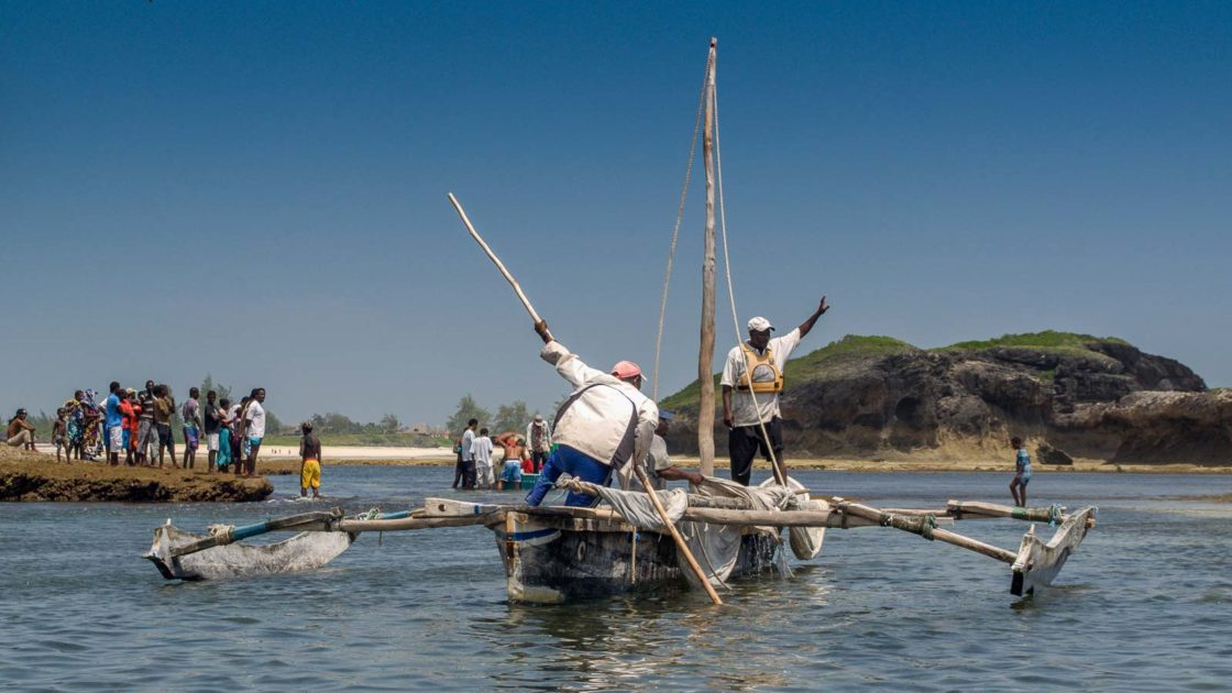 The Fishermen of Watamu returning to Watamu Beach