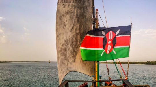 Kenyan flag waiving in the wind during a dhow cruise
