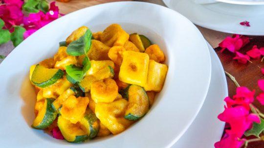 Gnocchi with Prawns, Zucchini and Saffron