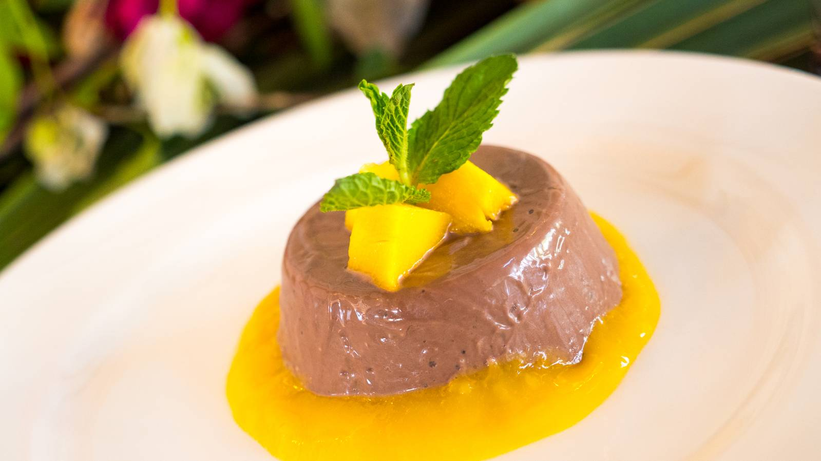 Chocolate Panna Cotta with Mango Coulis