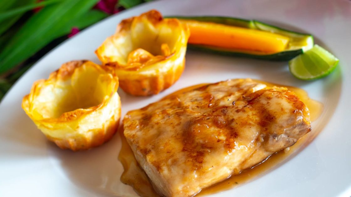 Ginger and Honey Pan-Fried Fish Fillet with Potato Roses