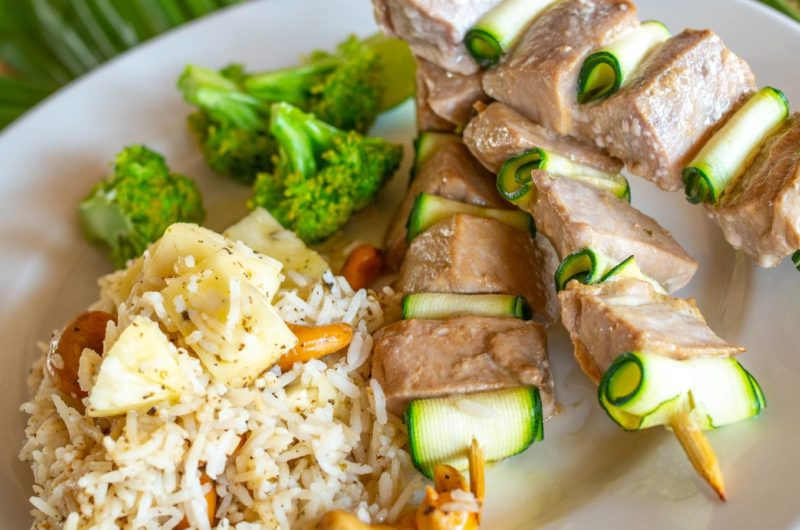 Pan-Roasted Tuna Skewers with Pineapple and Cashew Nut Rice